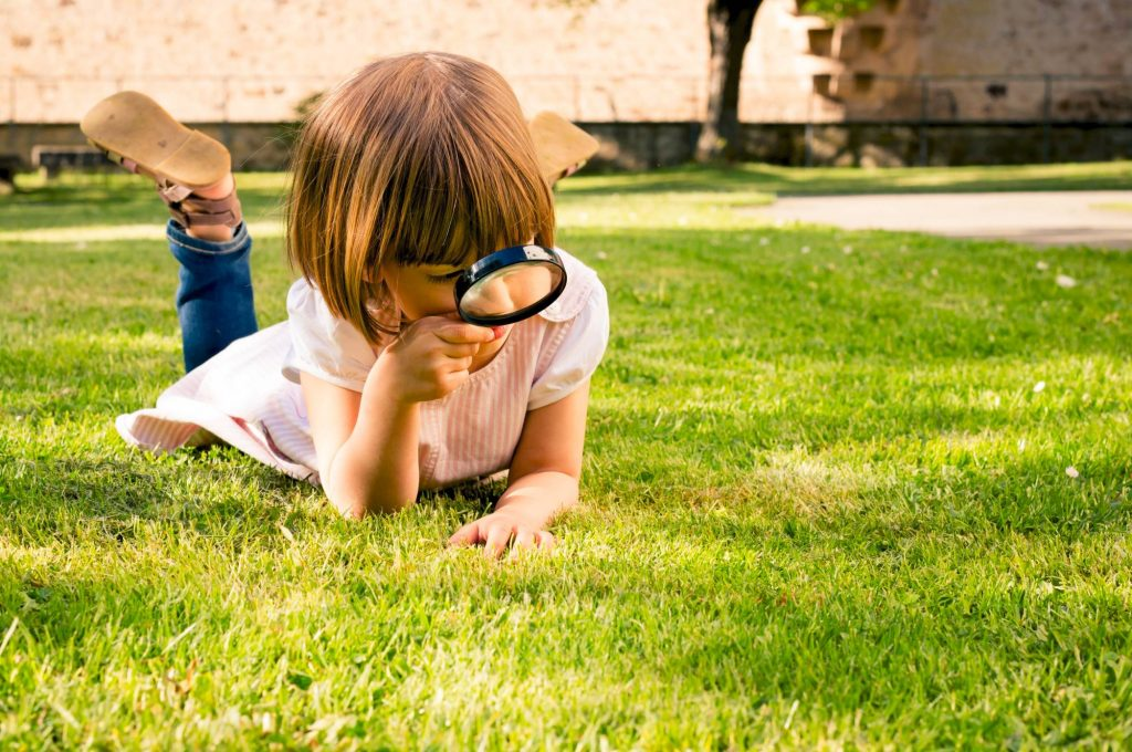 VP 5324685, Little girl lying on a meadow using magnifying glass. Fotografin: Larissa Veronesi
